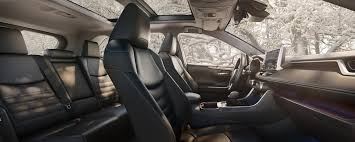 2019 toyota rav4 limited awd interior in black with panoramic glass roof