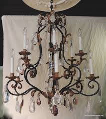 beautiful large wrought iron and gilt chandelier with amethyst and