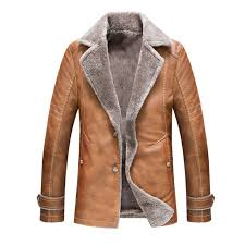 men winter leather fashion lapel military style coats suede lamb wool lining us m brown