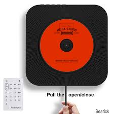 portable cd player searick bluetooth wall mountable cd player home audio boombox with remote control fm radio built in hifi speakers headphone
