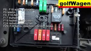 vw golf 5 fuse location and fuse diagram engine fuse too youtube volkswagen golf 2011 fuse box diagram Volkswagen Golf Fuse Box Diagram #13