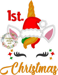 First Christmas Embroidery Design First Christmas Unicorn Applique Machine Embroidery Design Instant Download 4x4 5x7 6x10