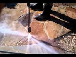 cleaning flagstone patio removing old