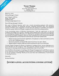 Sample Cover Letter For Entry Level Job Cover Letter Template Entry Level Accounting