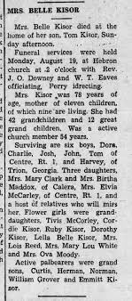 Obituary for Ada Belle Hodge Kisor; The Cherokee County Herald - Aug. 21,  1940 - Newspapers.com