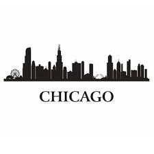 chicago city decal landmark skyline wall stickers sketch decals