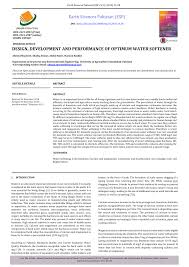 Softener Design Pdf Design Development And Performance Of Optimum Water