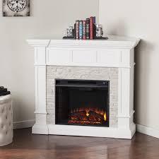 harper blvd reese white faux stone corner convertible electric fireplace