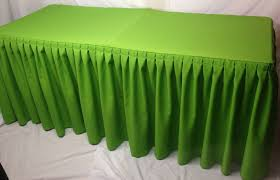 4 fitted polyester double pleated table skirting cover w top topper apple green 707568450383