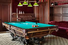 pool room lighting. Interior:Striking Ceiling Fan With Lighting Over Pool Table And Country Home Bar As Basement Room