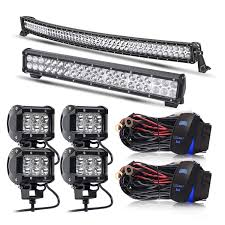 Dot Approved Led Lights Keenaxis Dot Approved 50inch Curved Led Light Bar 20inch Led Light Bar 4pcs 4inch Pods Lights Rocker Switch Wiring Harness Kit For Truck Jeep Suv Utv