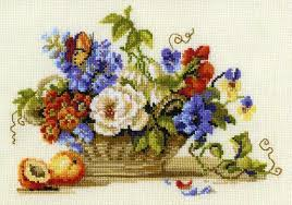 Cross Stitch Flower Patterns Custom Free Cross Stitch For Spring A Basket Of Flowers Pattern
