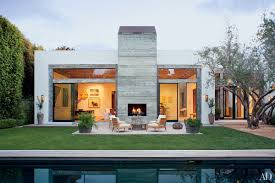 modern style contemporary house backyard pool patio design outdoor fireplace home