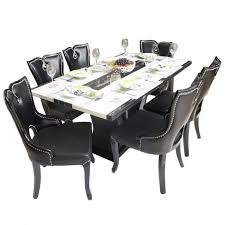 view larger black beauty 6 seater marble top dining table set woodys