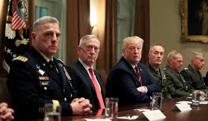 Image result for trump in Wh with military generals