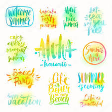 Summer Holidays And Vacation Quotes Phrases And Greetings Vector