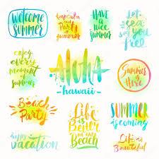 Sommerferien Und Urlaub Zitate Redewendungen Und Grüße Vektor Set