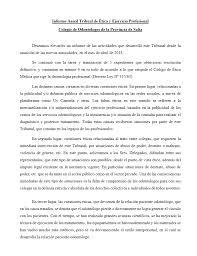 Informe Profesional Informe Anual Del Tribunal De Etica Y Ejercicio Profesional