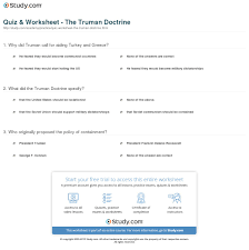 quiz worksheet the truman doctrine com print the truman doctrine definition summary purpose worksheet