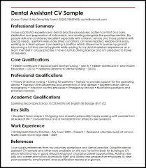 dental nurse cv example dental assistant myperfectcv