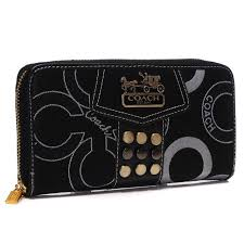 Coach Waverly Stud In Signature Large Black Wallets AGV