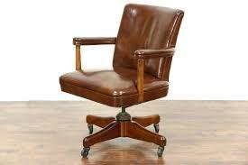 vintage wooden office chair. Vintage Oak Office Chair Old Wooden Swivel Modern Leather Adjustable Desk Fashioned