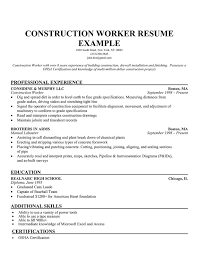 construction worker resume example professional experience