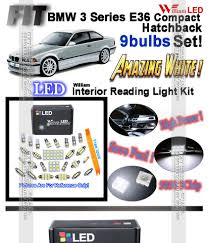 details about 9 bulbs white led interior light kit for bmw 3 series e36 pact hatchback