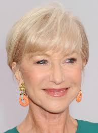 helen mirren short blonde haircut with bangs for women over 70