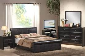 modern full size bedroom furniture sets and white curtains with brown fur rug
