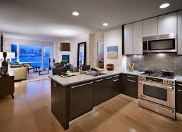 Small Apartment Kitchen White Gloss Cabinetry Modern Appliances Small Apartment Kitchen