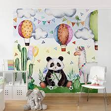 Non Woven Wallpaper   Panda And Lama Watercolor   Mural Square Wallpaper  Wall Mural Photo