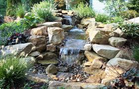superieur rock garden with water fountain and pond idea
