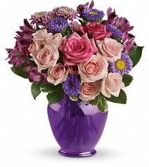 savannah ga florist home teleflora s purple medley bouquet with roses flowers view larger