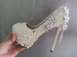 luxury wedding shoes high heels closed toe ivory pearls clean Wedding Shoes Handmade luxury wedding shoes high heels closed toe ivory pearls clean diamonds floral bridal shoes handmade bridal heels custom wedding heels new 2226411 wedding shoes handmade