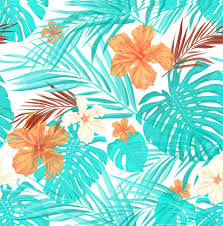 Summer Pattern Interesting Bright Seamless Summer Pattern With Palm Tree Leaves And Hibiscus
