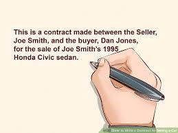 As Is Document For Car Sale Expert Advice On How To Write A Contract For Selling A Car