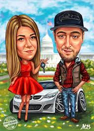 couple caricatures car gift