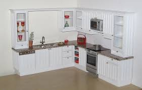custom kitchen in 1 12 scale white tongue and groove effect doors beige granite top with double underslung sink and several gl fronted cabinets