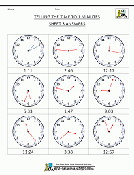 Clock Worksheets To 1 Minute Math Kindergarten Printable Telling ...