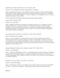Radiologic Technologist Resume Templates Letter Resume Directory