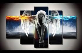 5 pieces set angeles girls anime demons canvas painting children s room decoration print canvas pictures