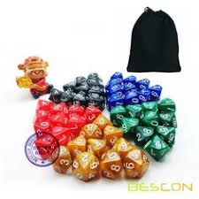 <b>50pcs</b> Assorted Different Colors D10 Pack, 5X10pcs 10 Sides <b>Dice</b> ...