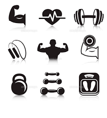 Fitness Bodybuilding Sport Icons Set Of Strength And Slimness Training Exercises Isolated Vector Ill