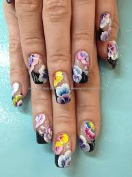 Eye Candy Nails & Training - Multi coloured one stroke flower nail ...