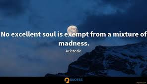 No Excellent Soul Is Exempt From A Mixture Of Madness Aristotle