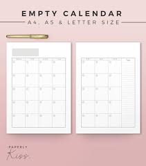 Empty Calendar Printable Monthly Planner Inserts A4 A5 Letter Modern Organizer Monthly Planner Printable Calendar Wall Calendar