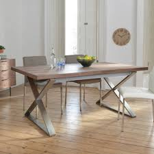 crossed leg walnut extending 6 10 seater dining table brushed steel leg