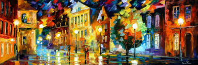 Canvas Painting Night Square Original Palette Knife Oil Painting On Canvas By