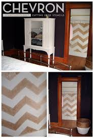 the closet has been stenciled with the chevron stencil from cutting edge stencils in